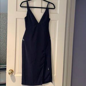Dark blue v neck/back NWT NBD dress with slit